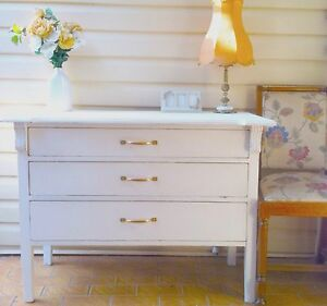 Shabby Chic Distressed White Dresser Sideboard - 3 Drawers Bexley Rockdale Area Preview