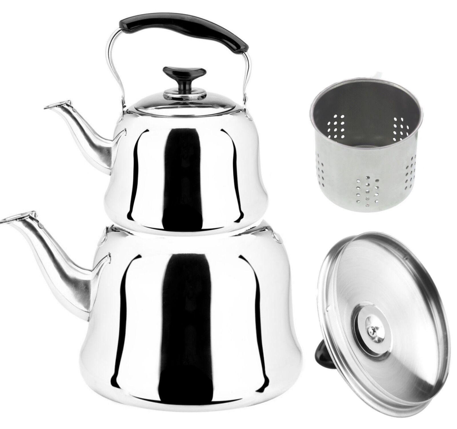 Türkischer Teekocher mit Sieb 3 & 1 Liter Caydanlik mit Teekanne Set Edelstahl