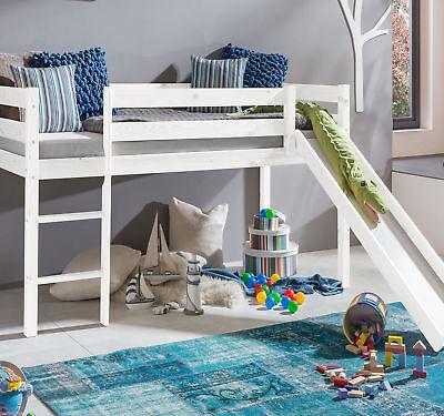 Kinder Hochbett (Kinderbett Hochbett mit rutsche Leiter Hochbett Spielbett Roll Lattenrost  Weiss)