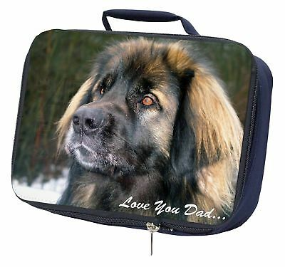 Leonberger Dog 'Love You Dad' Navy Insulated School Lunch Box Bag, DAD-68LBN