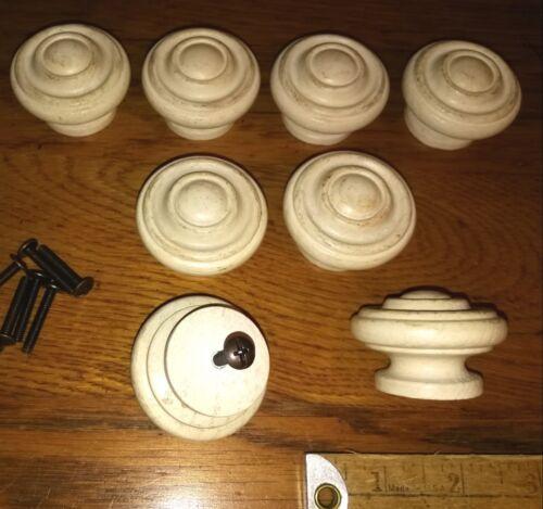 8 Vintage Wooden Drawer Knobs Off White Cabinet Furniture Wood Pulls & Screws