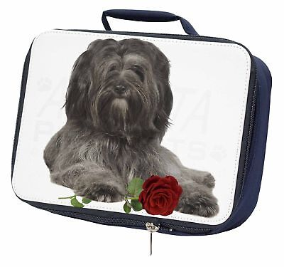 Tibetan Terrier with Red Rose Navy Insulated School Lunch Box Bag, AD-TT2RLBN
