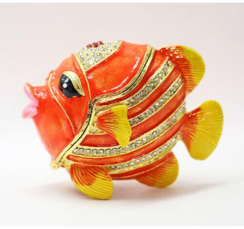 Bejeweled Enameled Animal Trinket Box/Figurine With Rhinestones- Tropical Fish