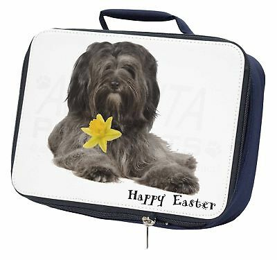 'Happy Easter' Tibetan Terrier Navy Insulated School Lunch Box Bag, AD-TT2DA1LBN