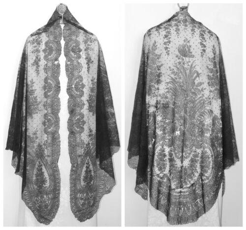 "Civil War Era CHANTILLY Bobbin Lace Black Victorian Large Shawl Mantilla 108x52"""