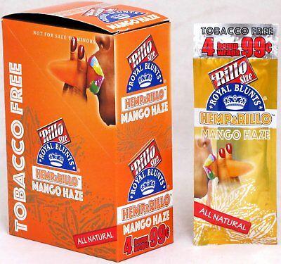 Hemparillo Mango Haze Hemp Wraps Rilla Rolling Papers 15 Packs Full Box 60 Wraps