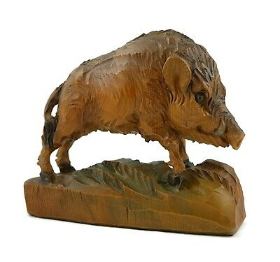 Vintage Hand Carved Wood Wild Boar Hog Figurine Sculpture