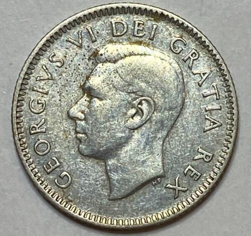 1948 CANADA 10 Cent Silver Dime King George VI RARE LOW MINTAGE 422,741