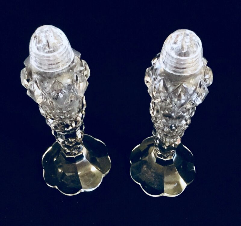 Vintage Bohemian Crystal Salt And Pepper Shakers  (1373)
