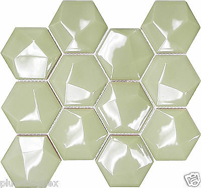 Polished Light Olive Ceramic Hexagons Kitchen Bath Wall Mosaic Tile-11 Per -