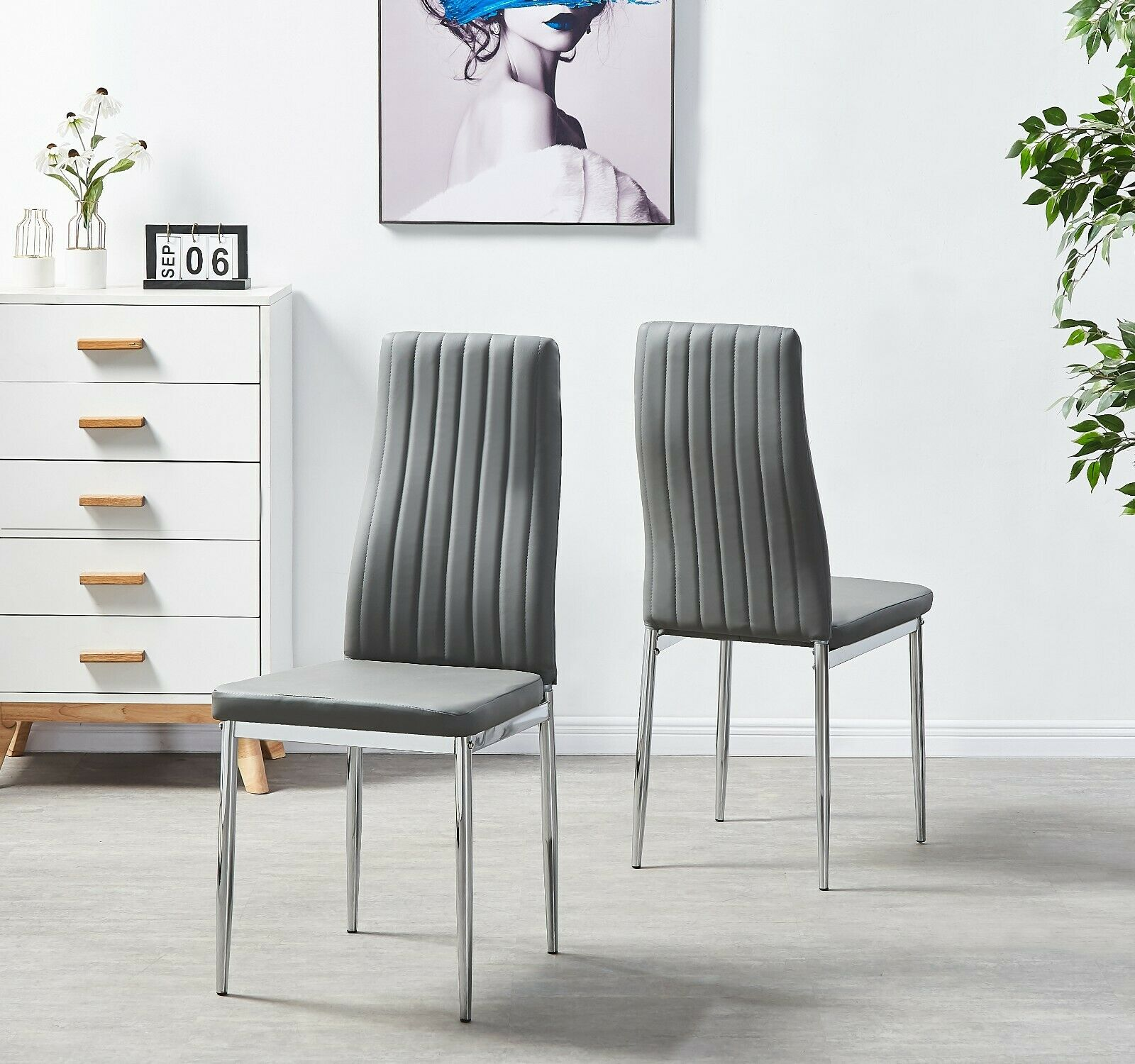 Set Of 4 Grey Modern Faux Leather Chrome Metal Legs Home Dining Chairs Kitchen Ebay