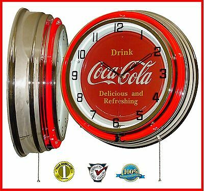 "19"" Drink Coca-Cola Delicious & Refreshing Sign Red Double Neon Clock Chrome"