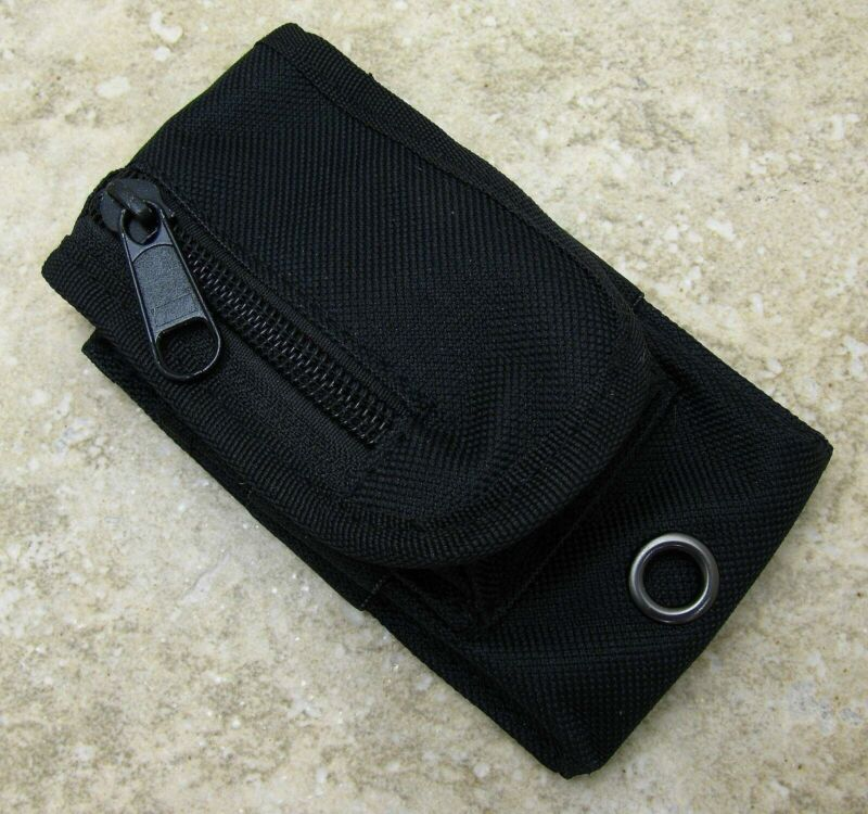 """Black Nylon Knife Belt Sheath for Folding Knfe up to 4"""" with extra storage pouch"""