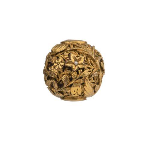 Antique Japanese Meiji Era Signed Gilt Bronze Pearl Inlaid Ojime Bead