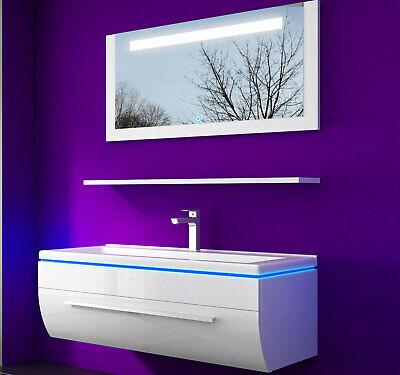 Badmöbel Set 90 cm schwarz oder weiss Komplett hochglanz Badezimmermöbel 4 tlg