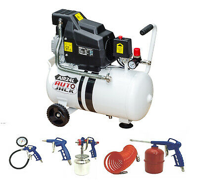 24 Litre Air Compressor Oil Free & Portable Quick Release 1.5HP + Accessories