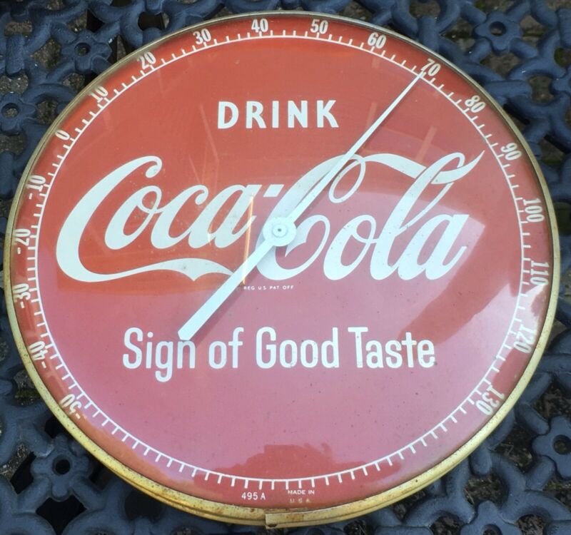 Vintage 50's 495A Drink Coke Sign of Good Taste Coca-Cola Pam Glass Thermometer
