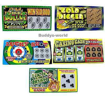 5 Fake Scratch Off Winning Lottery Tickets Gag Gift Joke Prank All Winners