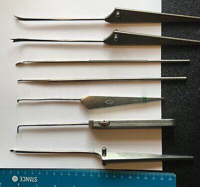 7 Small Arthroscopy Instruments Acufex Storz Stille Knives Probes Etc.