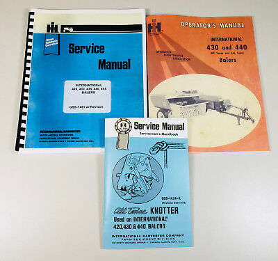 International 430 440 Baler Service Operators Knotter Repair Shop Manual Set