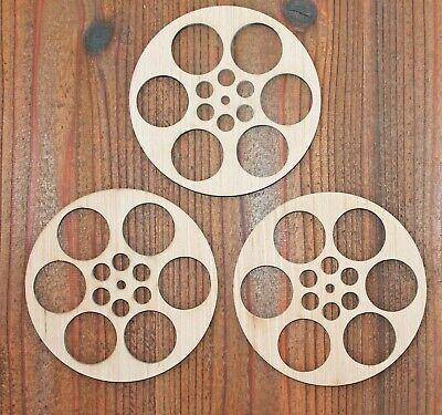 Movie Room Theater Film Reel Unfinished Wood Laser Cut Out Wall Decor Sign Craft - Film Reel Decoration