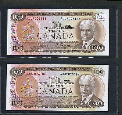 1975 CANADA $100 BC 52B CROW/BOUEY 2 CONSECUTIVE AJJ7023185 186 CH UNCIRCULATED