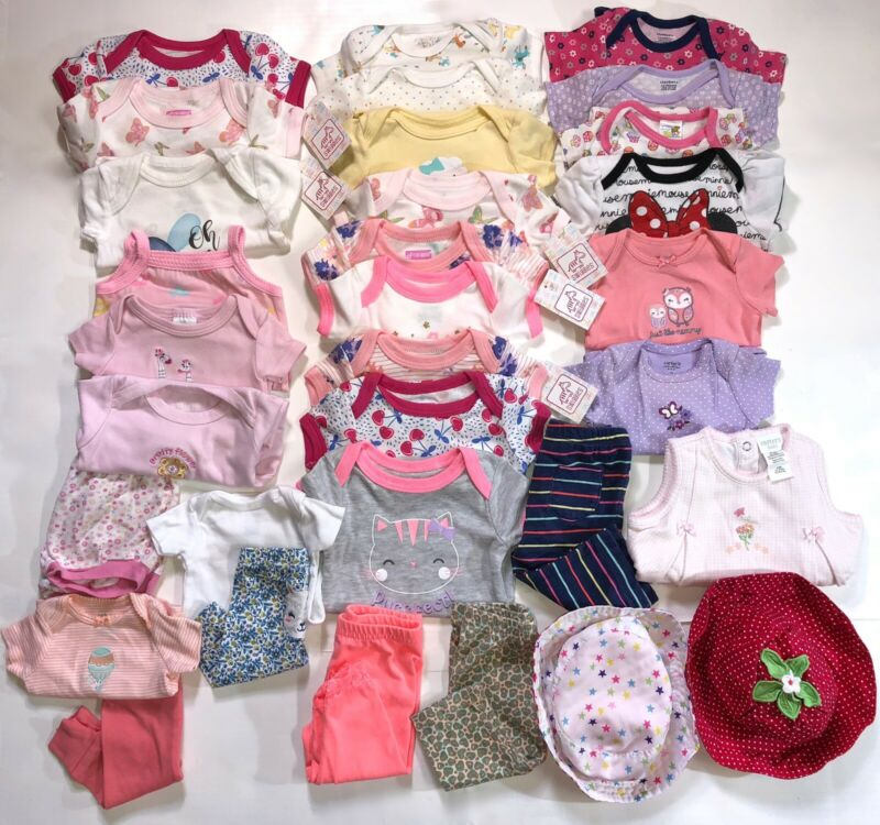 31 Piece Lot Nwt & Preowned Baby Girl Clothes Sz 0-3 & 6-9 Mths Carter's, Gerber