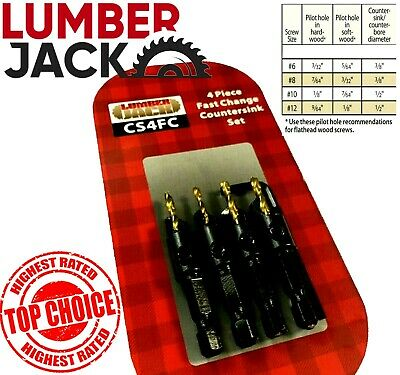 Lumberjack Countersink Wood Drill Bit Set 14 Hex Shank For 6 8 10 12 Pilot Hole