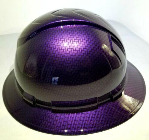 Hard Hat FULL BRIM custom hydro dipped , OSHA MOPAR PLUM CRAZY CARBON FIBER 3