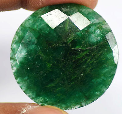 32mm (54cts) ROUND-FACET CHECKER-CUT CERTIFIED NATURAL (EGL) COLOMBIAN EMERALD