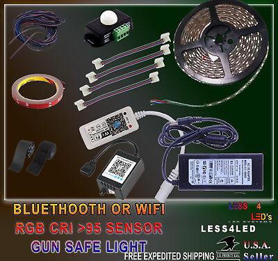 Gun Safe Light RGB Bluethooth or WIFI with Motion Sensor + instal Kit CRI >95+