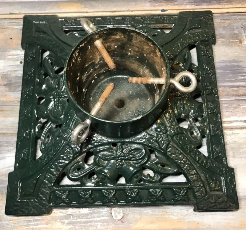 """VTG '70s Cast Iron """"Holly Bell"""" 12"""" Square Christmas Tree Stand (4½"""" Trunk Well)"""