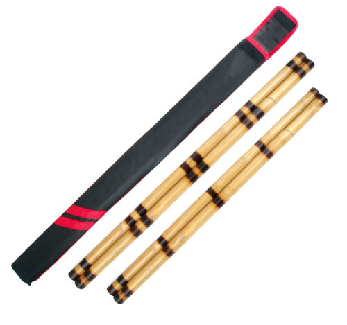 "Escrima Sticks Pair 26"" 28"" Rattan Kali Arnis Ring Burnt Martial Arts, Add Case"