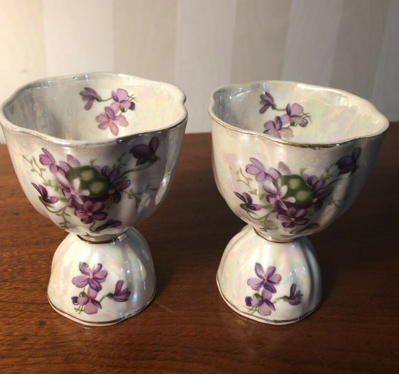 TWO matching Porcelain China Egg Cups with Violet Bouquets  Unmarked