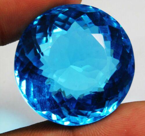 80.50 Ct Natural Round Cut Ocean Blue Aquamarine Loose Gemstone