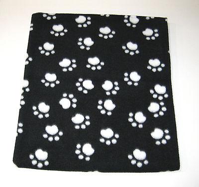 Black w/ White Paws Fleece Pet - Dog  Blanket - Handcrafted 30 x 34 Baby Blanket
