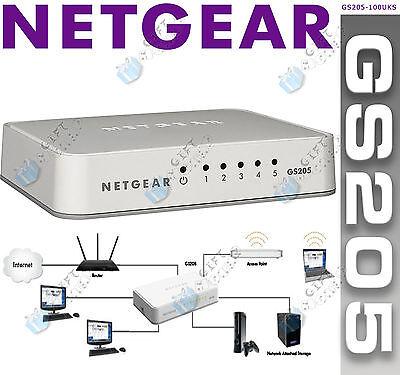 NETGEAR GS205-100UKS 5 Port Gigabit Ethernet Switch *NEW* FREE EXPRESS DELIVERY*