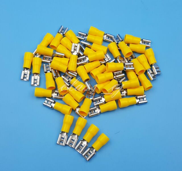50pcs 6.3mm Yellow Female Spade Insulated Quick Disconnects Wire ...