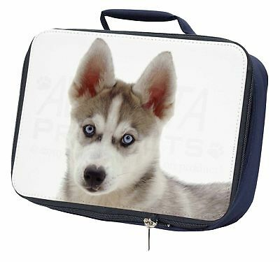 Siberian Husky Navy Insulated School Lunch Box Bag, AD-H90LBN