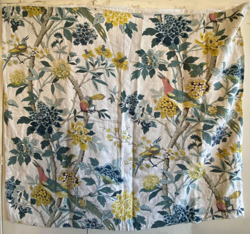Beautiful 20th Century French Exotic Bird and Floral Linen Printed Fabric (3209)