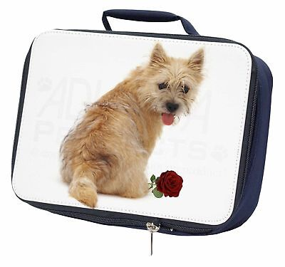 Cairn Terrier with Red Rose Navy Insulated School Lunch Box Bag, AD-CT1RLBN