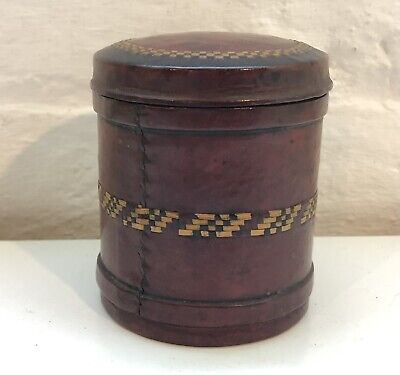 Antique Leather Tea Caddy Pot - Hatched Weaved Design Metal Lining To Box