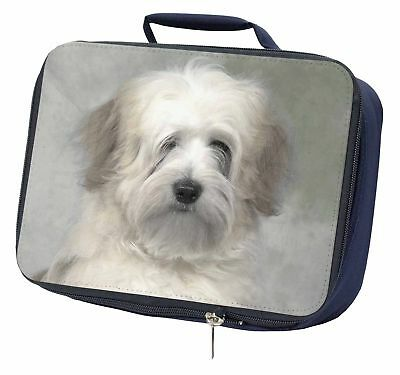 White Tibetan Terrier Dog Navy Insulated School Lunch Box Bag, AD-TT1LBN