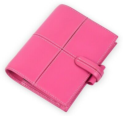 New Filofax Classic Italian Leather Pocket Organiser In Pink See Details