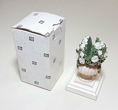 Vtg. Figi 1999 White Rose Flowers Vase Business Card Holder W Box Cc-gt-101