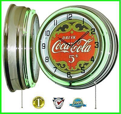 "18"" Classic Drink Coca-Cola 5 Cents Green Double Neon Clock Home Decor"