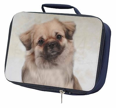 Tibetan Spaniel Dog Navy Insulated School Lunch Box Bag, AD-TS1LBN