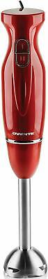 Ovente Immersion Electric Hand Blender with Stainless Steel Blades Red HS560R