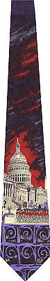 Capital Building Washington Dc Blue And Black New Novelty Tie