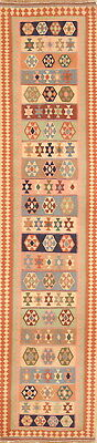 Geometric Tribal Runner 2x10 Kilim Shiiraz Oriental Rug Hand Woven for sale  Shipping to South Africa